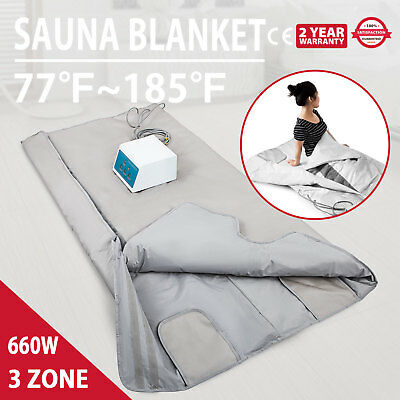 3 Zones Far Infrared Sauna Blanket Body Shaper Weight Loss Slimming Detox