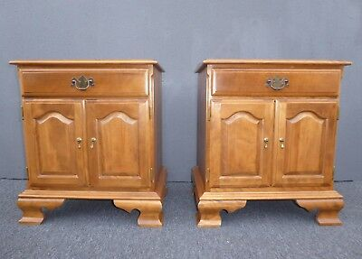 Pair Vintage Ethan Allen Baumritter French Country Style Maple Nightstands