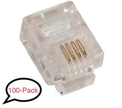 RJ11 (6P4C) Telephone Phone Line Plug Connector for Stranded Flat Wire (100/pk)