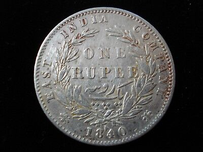 East India Company 1840 One Rupee Silver Coin #BB5