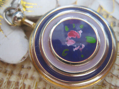 Antique Sterling Silver Rear Genuine Solid Enamel Hand Painted Pendant Stamp