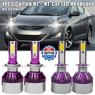 4x H1+H7 Combo 600W LED Headlight Bulb Kit Hi Lo Beam For Hyundai Sonata Elantra