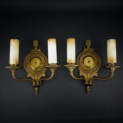 Pair of Vtg. Electric Brass Wall Candle Sconce Ornate Double Arm w/Pull Switches