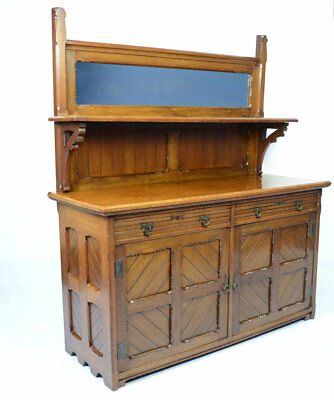 Antique Victorian Aesthetic Movement Oak Sideboard Circa 1885 / Garnett & Sons
