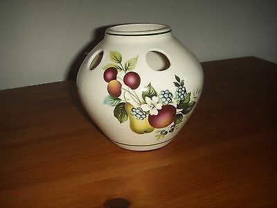 Stunning Vintage Posy Vase With Fruit Design by Brixham Pottery