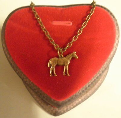 Sweet Handmade Necklace Ox Brass Brown Horse On Delicate Brass Plated Chain
