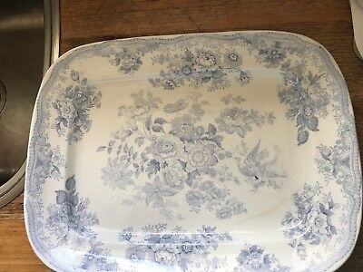 Huge Vintage Asiatic Pheasant Meat Platter Blue And White Ceramic