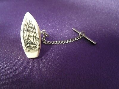 Antique Celluloid Scrimshaw Ship Hand-Crafted Silver-Tone Tie Tac
