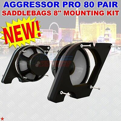"""For Harley Touring American Hard Bag Aggressor Pro 80 Pair 8"""" Woofer Mount Kits"""