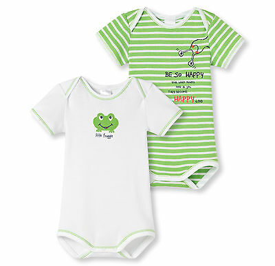 Schiesser Baby Bodysuit Frogs Double Pack Size 68-104 Bodies Short Sleeve 100%