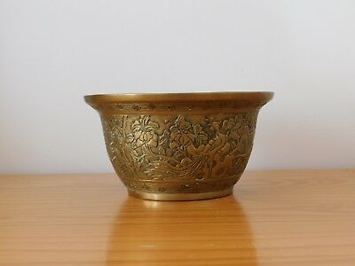 c.19th - Antique Chinese Solid Bronze Brass Dragon Planter Pot Bowl