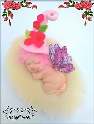 OOAK Fairy Pixie Fantasy Artist Baby Elf Doll Miniature In Polymer Clay