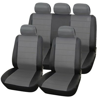 Black Grey Full Set Leather Seat Covers For FORD S-MAX 06-ON