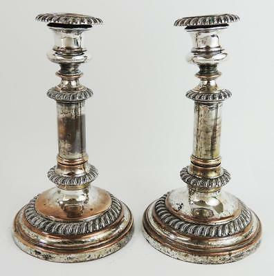 PAIR GEORGIAN OLD SHEFFIELD PLATE TELESCOPIC CANDLESTICKS c1820 Some Flaws