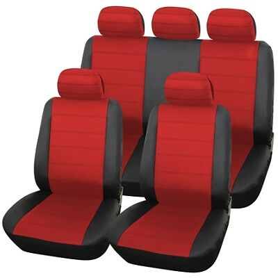 Black Red Full Set Leather Seat Covers For LANDROVER DISCOVERY 2 98-04
