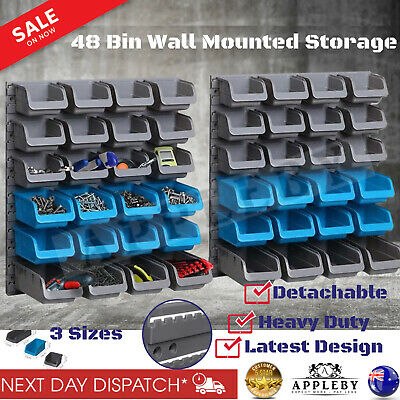 48 Bin Wall Mounted Storage Rack Shelf Organiser Nuts Bolts Garage Containers