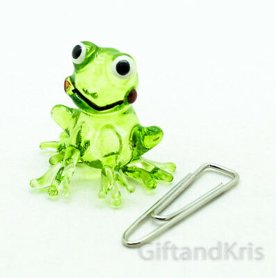 Figurine Animal Hand Blown Glass Amphibian Miniature Kero Green Frog - GPFR026