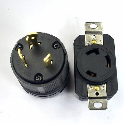 NEMA L6-30P L6-30R 30A 250V Twist Lock Electrical Plug Connector Male + Female