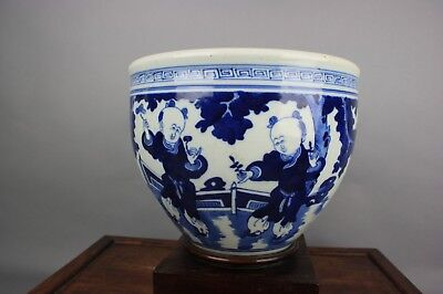 18th C. Chinese Blue And White Enameled Scroll Pot With Wood Stand