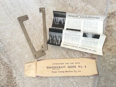 Vintage Singercraft Width Extensions Guide No. 2 Singer Sewing Machines Rugs Mat