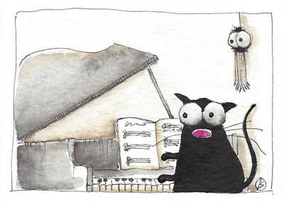 ACEO Original watercolor painting whimsical black cat grand piano solo spider