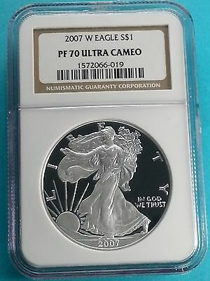 2007 W American Silver Eagle PF 70 Ultra Cameo  1 oz NGC Gold Label