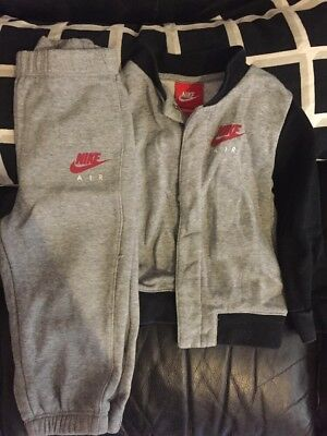 baby boys grey nike air tracksuit bottoms jumper age 18-24 months