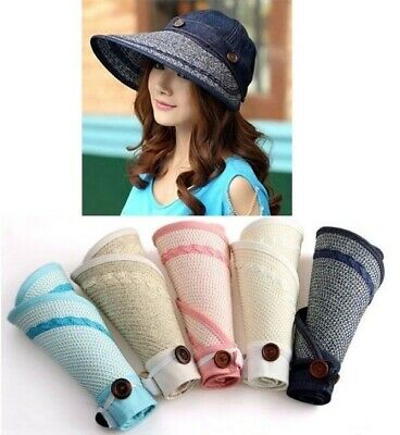 Chic Woman 2-way Wide Brim Summer Beach Sun Visor Straw Foldable Roll Up Hat Cap