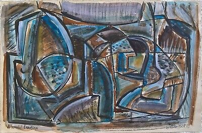 William Black cubist influenced modernist abstract landscape watercolour and ink