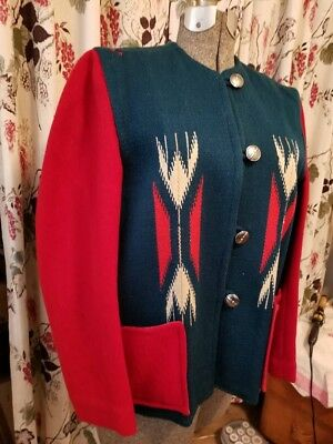 1950s RARE GANSCRAFT CHIMAYO TOURIST WOOL JACKET  M/L