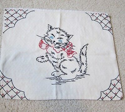 """Vintage Cat Embroidered Pillow Cover 13"""" x 16"""" Black Kitty w/ Red Bow"""