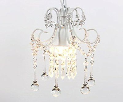 Mini Crystal Chandelier Pendant Light White 1-Light Chandeliers Ceiling Fixtures
