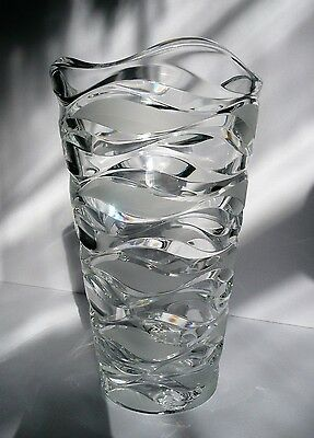 """Large 11"""" CRYSTAL VASE Crescendo Cristal D'Arques Frosted Wave Cuts"""