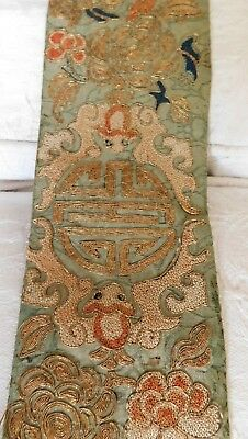 Finely Embroidered Antique 19Th C Silk Chinese Sleeve Panel, Gold Thread Work