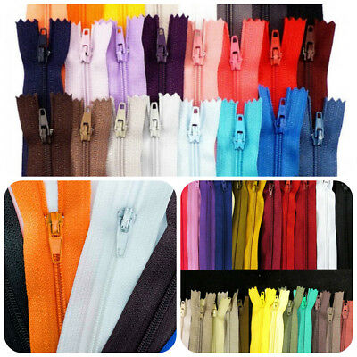 10 x Closed End Nylon Zips All Sizes Any Colours