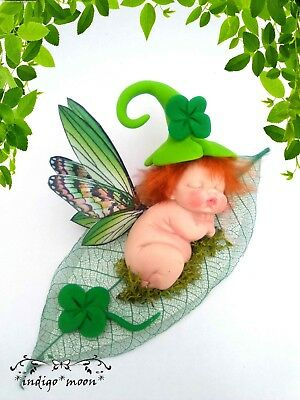 OOAK Fairy Pixie Fantasy Artist Baby Elf Leprechaun Miniature In Polymer Clay