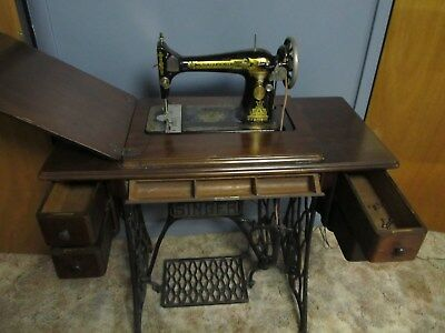Rare Antique Singer Treadle Sewing Machine in Original Cabinet. New belt and acc