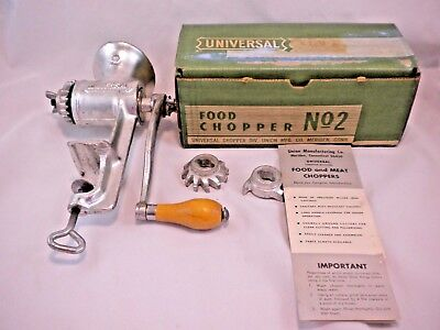 Universal No 2 Hand Crank Meat Grinder Food Chopper 3 Cutters Box Instructions