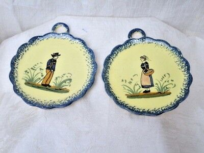 Sweet Pair of Vintage French Henriot Quimper Small Plates 4.5""