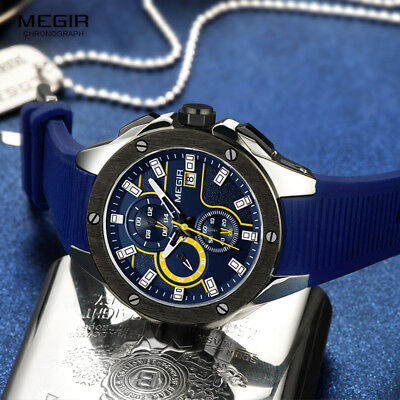 MEGIR 2017 New Men Sport Watch Silicone Strap Quartz Chronograph Army Military