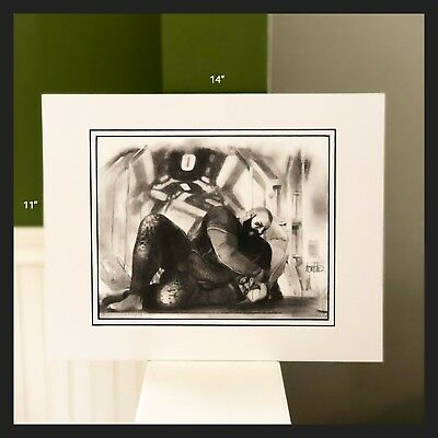 """Ellis and the Hammer of Occultation III Original Pencil Drawing 8.5""""x11"""" Matted"""
