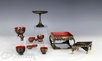 Lot Of Japanese Gilt Accented Lacquer Items Bowls Pedestal Cup Etc