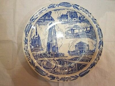 Blue Vernon Kilns City of Pittsburgh Meet me Under the Clock Collector Plate