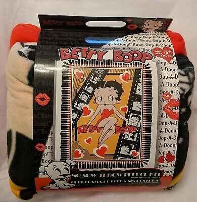 RARE & NEW: BETTY BOOP No-Sew Throw Fleece Blanket Kit - Do It Yourself Crafts