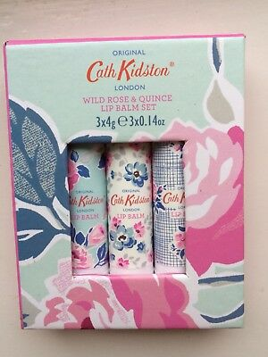 Cath Kidston Wild Rose and Quince Lip Balm Trio Set -  Brand New