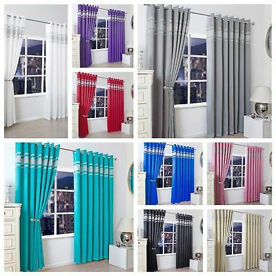 Diamante Thermal Blackout Luxurious Curtains Pair Ready Made Eyelet / Ring Top