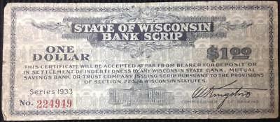 State of Wisconsin Bank Script Series 1933 Rare Uncancelled Seldom Offered
