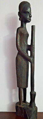 VINTAGE Hand Carved Ebony Wood African Woman Figures Made in Kenya