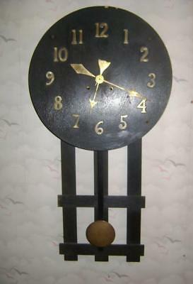 American Arts & Crafts Style Wall Clock:  Brass Numbers on dial: to restore
