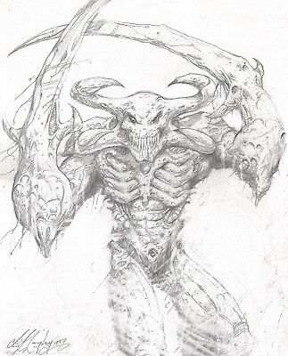 Alien Creature Original Hand Drawn Concept Art Clint Langley